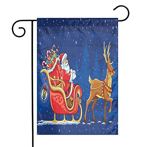 Mannwarehouse Santa Garden Flag Santa Moving on The Sledge with Reindeer and Presents at Magical Xmas Night Premium Material W12 x L18 Navy Blue Multicolor