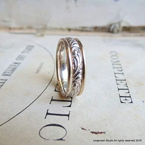 14kt Gold Handmade Wedding Band with Swirl Pattern