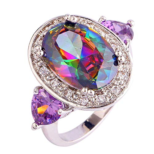 PAKULA Silver Plated Women Oval Cut Simulated Rainbow Topaz Ring ()