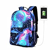 Schoolbag Galaxy Blue Stylish Unisex Nylon Book Bag School Backpacks For Girls Boys USB Charger Anti-Theft Lock Travel Bag College Bookbag(11.81 x 17.71 x 5.51 inch,as the picture)