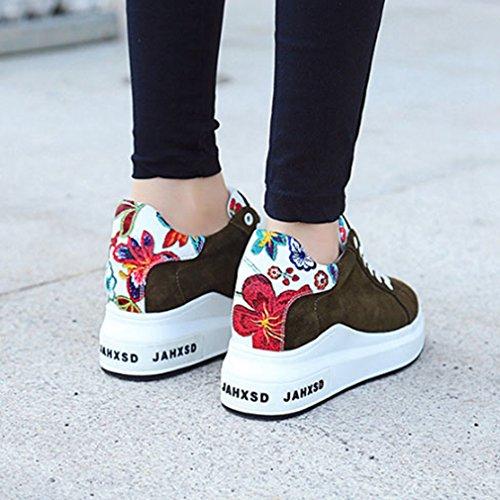 Sneakers Alte E Alla Moda Da Donna Con Zeppa Stringate Con Zeppa E Tallone Nascosti Con Tacco Fiore Verde Militare