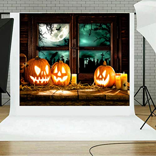 vmree Indoor Photographic Studio Backdrop, Halloween Pumpkin Photo Shooting Background Props Wall Hanging Screen Post-Production Curtain Folding & Washable Art Cloth 5x3FT. (F) -