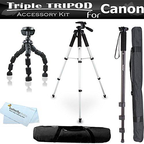 Triple Tripod Bundle Kit For Canon SX60 HS, SX60HS, SX280 HS, EOS M10, Powershot ELPH 520 HS, ELPH 530 HS, ELPH 340 HS, ELPH 135, ELPH 130 IS, D20, SX260 HS, SX510 HS, SX520 HS, SX400 IS, SX170 IS, S120 Includes 57 Tripod + 67 Monopod + 7 Flexible Tripod
