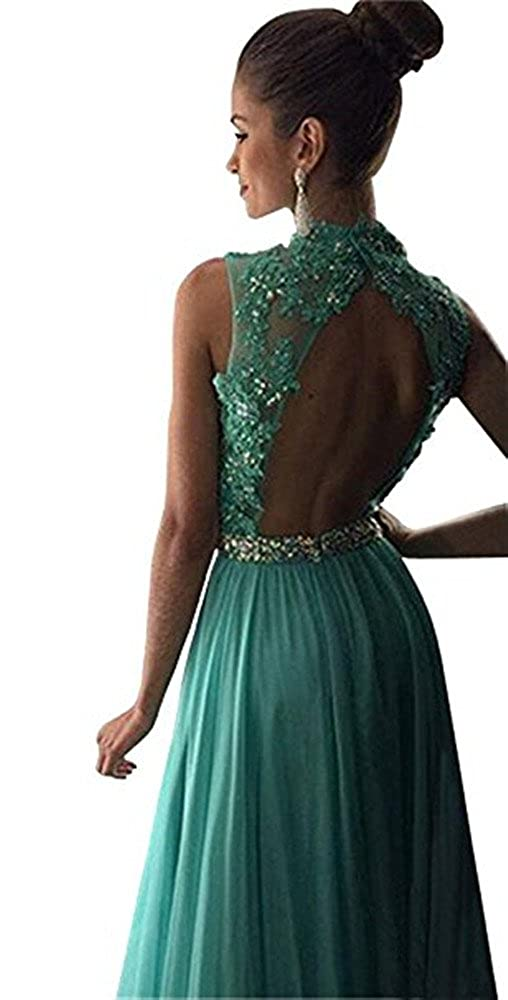 Amazon.com: CCBubble Crystals Prom Dresses 2017 O Neck Backless Long Lace Prom Dress: Clothing