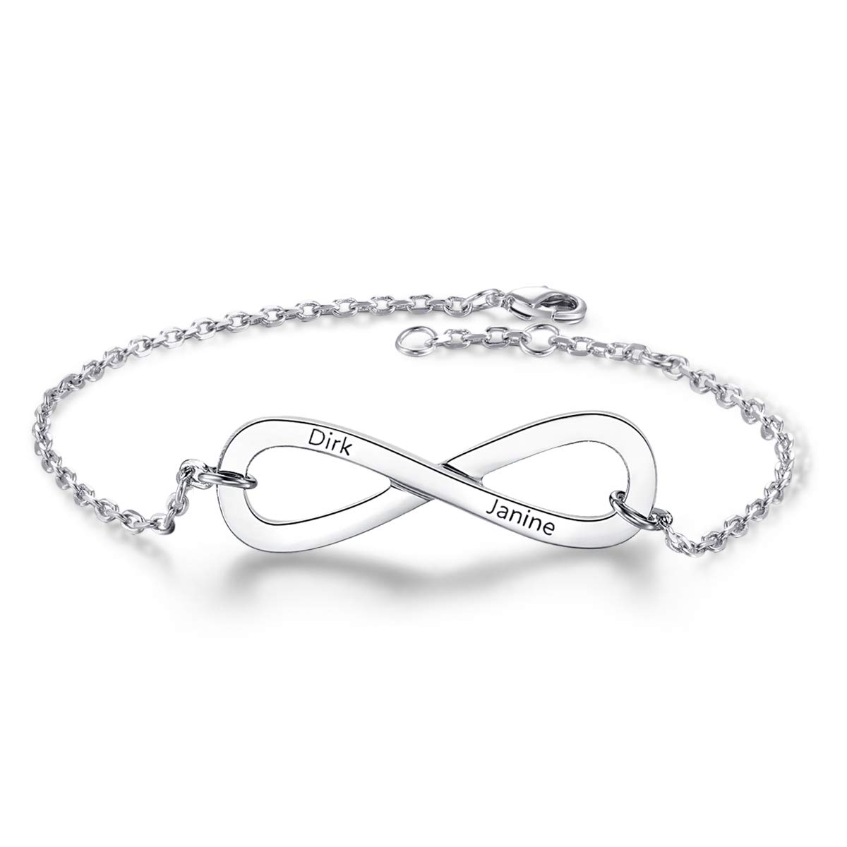 Dreamdecor Personalized 2 Names Infinity Bracelet Adjusted Chain Custom Engraved Link Bracelet Jewelry Gift