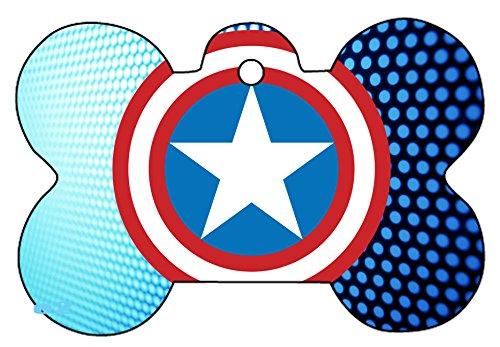 Captain America Cap Shield Logo Dog Pet Cat ID Tag Bone Shape Personalized Key Ring (A)