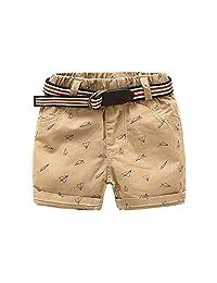 Mud Kingdom Boys Shorts with Belt Paper Plane
