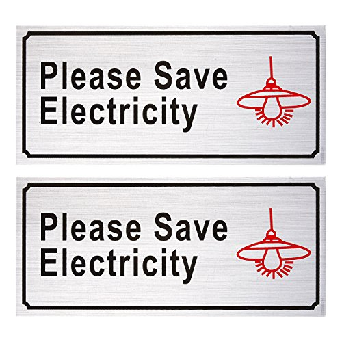 2-Piece Set of Please Save Electricity Signs - Conserve Energy Aluminum Compliance Signs for Eco-Friendly Business, Reminder Signs, Silver - 7.8 x 3.6 Inches for sale tKKObzmX
