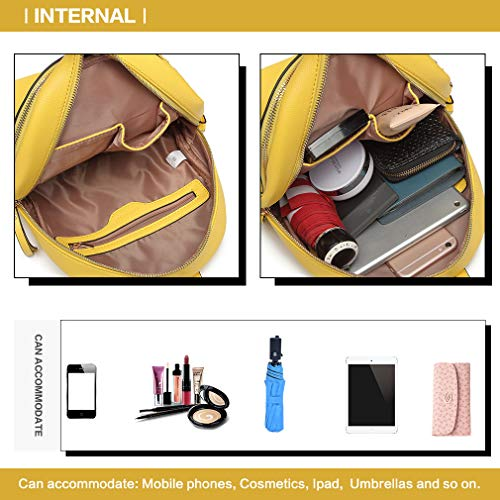 Fashion detail Bag Backpack Handbags Grab front Lulu with Logo Zipper Pu Studded hole Handle Yellow M Pouch Women Miss Leather Shoulder qa8Stwq