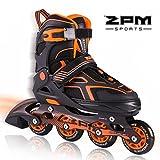 2pm Sports Torinx Orange Black Boys Adjustable Inline Skates, Fun Rollerblades for Kids, Beginner Roller Skates for Girls, Men and Ladies
