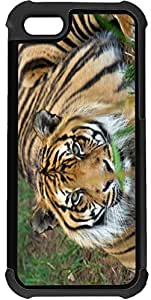 Rikki KnightTM Orange Stripes Tiger Close-up 2-In-1 Black Hard Plastic top with Black Silicone Rubber Protective Insert Case Cover for Apple iPhone 5 & 5s