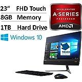 "2017 NEW Flagship Lenovo Ideacentre 23"" Full HD All-in-One Borderless Touchscreen Desktop- AMD Dual Core A9-9410 APU 2.9GHz, 8GB RAM, 1TB HDD, DVDRW, AMD Radeon R5, 802.11ac, Bluetooth, HDMI, Win 10"
