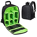Camera Shockproof Backpack DSLR Hiking Camera Bag Waterproof for Canon, Nikon, Sony, Olympus, Samsung, Panasonic, Pentax Cameras and Other Accessories (Green)