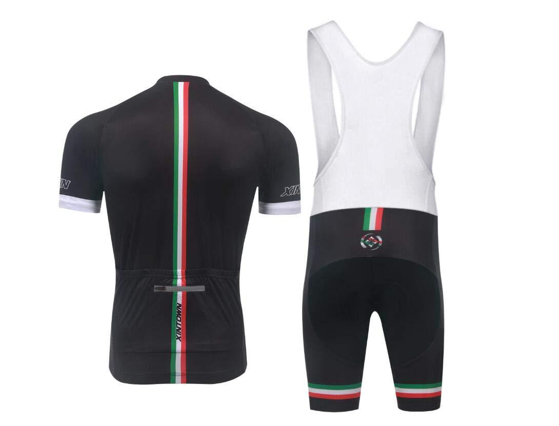 DUBAOBAO XINTOWNMEN Herren Shorts Lätzchen Und Reiten Ride Set Set Rennrad Outdoor Sportswear Kurzarm Riding Kit + 3D Gefüllte Trägerhose
