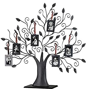 Klikel Bronze Metal Family Tree with 6 Hanging Picture Photo Frames