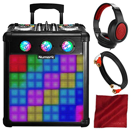 (Numark Party Mix Pro DJ Controller with Built-In Light Show & Portable Speaker with Headphones and Bundle)