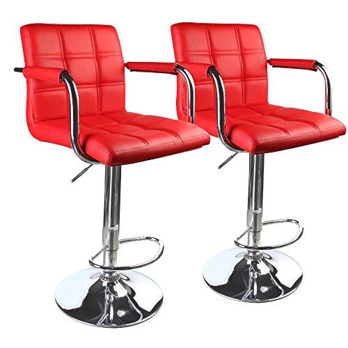 Leopard Modern Square Back Adjustable Swivel Bar Stools with armrest,Set of 2,Red