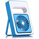 LOHOME® Mini Mute Fan, Adjustable Outdoor Protable Hand-hold USB Rechargeable Creative Student Desk Small Fan (Blue)