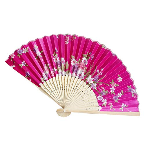 Holzkary Chinese Style Vintage Folding Hand Held Fan/Paper Fan/Feather Fan/Sandalwood Fan/Bamboo Fans for Wedding, Party, Dancing(21cm.M)