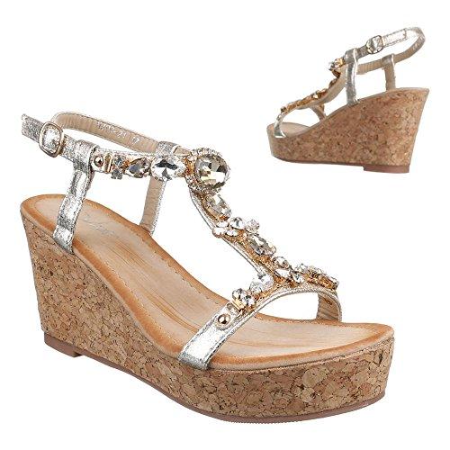 Ital-Design Damen Schuhe, HJ99-21, Sandaletten Keil Wedges Plateau Pumps Gold