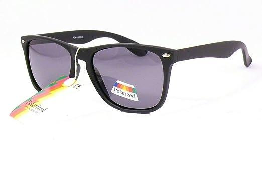 lunettes de soleil polarisantes verres polarisés style wayfarer mixte homme femme 201234ad (monture noire mat verres gris, largeur:130mm hauteur:45mm)
