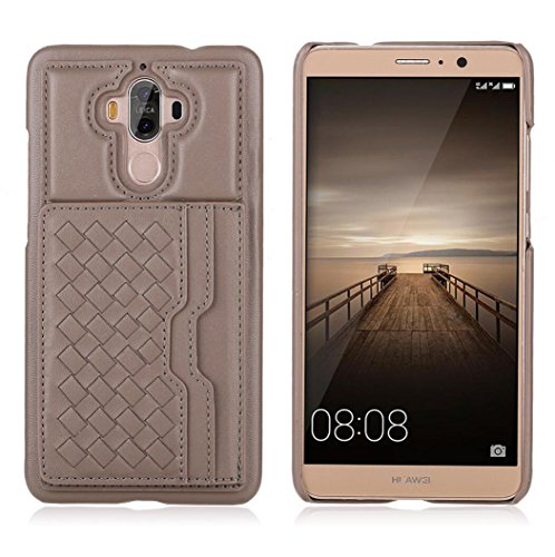 for Huawei Mate9 Case, Omio Hard Microfiber PC Cover Knit Weave Knitting Pattern Cash Money Credit Card Slot Hold Kickstand Kick Stand Anti-Slip Ultra Thin Slim Fit Back Shell for Huawei Mate 9