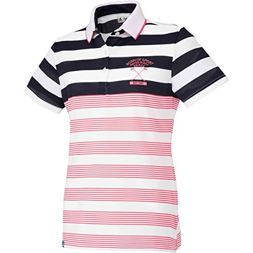 アディダス Adidas 半袖シャツ?ポロシャツ ADICROSS パネルストライプ 半袖ポロシャツ レディス リアルピンク L