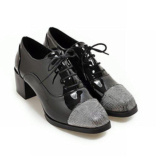 Latasa Dames Lace Up Dikke Hakken Oxfords Schoenen Zwart