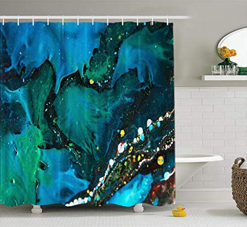 Bathroom Shower Curtain Acrylic Colors Abstract Acrylic Canvas Colors Lights Modern Plastic Shine Sky Waterproof and Mildew Resistant Fabric Shower Curtain Sets with 12 Hooks-72 x 72 inches