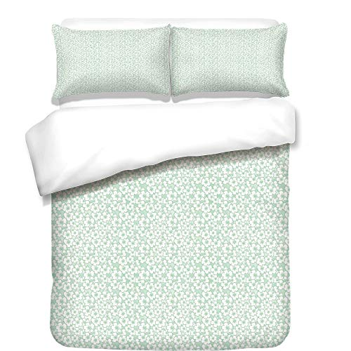 iPrint Duvet Cover Set,Luau,Flourish Pattern with Blossoming Hibiscus Flowers Springtime in Hawaii Theme Decorative,Mint Green White,Best Bedding Gifts for Family Or Friends by iPrint