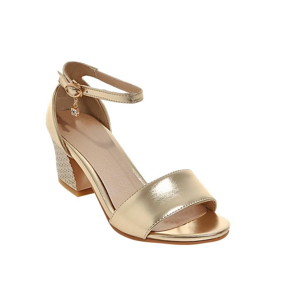 Damen Chunky Heel Slingback Sandalen mit Strass (37, Gold) MissSaSa