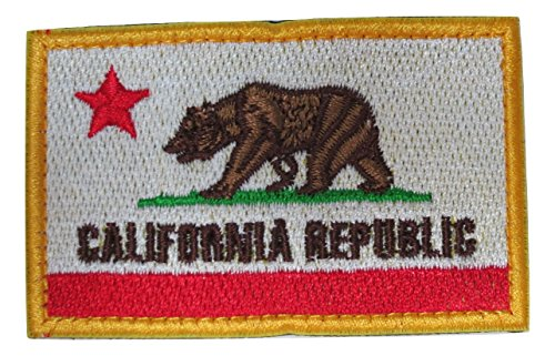 California Cali State Republic Flag Embroidered Velcro Patch