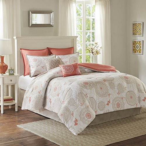 Comfort Spaces - Emily Comforter Set - 8 Piece - Coral - Floral Print - Queen Size, includes 1 Comforter, 2 Shams, 2 Euro Shams, 1 Bedskirt, 2 Decorative Pillows (Coral And Gray Bedding)