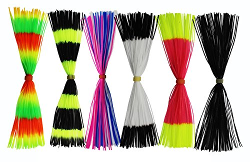 Fishing Jig Skirts (20 Bundles Silicone Skirts 50 Strands Assorted Color Rubber Skirts for DIY Spinnerbatis Buzzbaits Spoon Blade Rubber Jig Assist Lures, Fishing Lures Bait Replacement, Fly Tying Material)