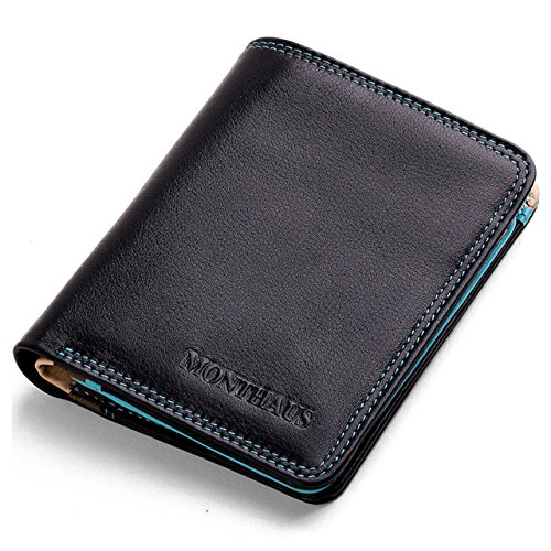 MONTHAUS Men's Genuine Cow Leather Multi-Color Bifold Wallet,Ocean Series Business Portfolio,Vertical Style