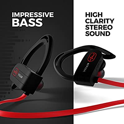 Bluetooth Headphones, Villain - Wireless Earbuds, Best Sports In-Ear Earphones, HD Stereo Sound - Noise Cancelling Mic - IPX7 Waterproof Headsets for Gym, Running, Workout, Outdoor