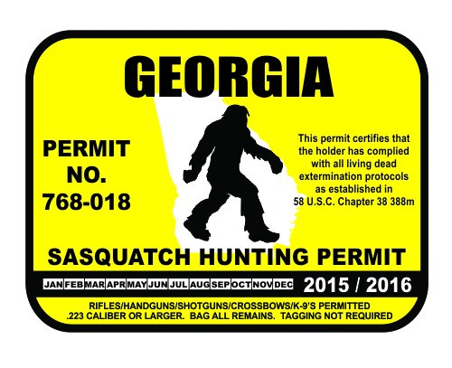 Georgia bigfoot hunting permits bigfoot gifts toys for Fishing license georgia