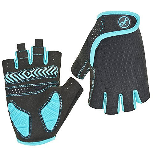 HuwaiH Bike Gloves Gel Pad Shock-Absorbing | Anti-Slip Outdoor Sports Riding Working Half Fingers Cycling Gloves Short Mountain Bicycle Motorcycle Gloves (Blue, Small)