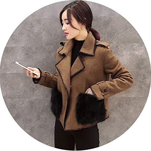 (Noble Notched Turn Down Collar Short Wool Blend Jacket Coat Fur Pockets Ladies Overcoat,Camel,XL)