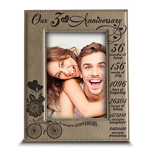 Bella Busta- 3 Years of marriage - Years,Months, Weeks, Days, Hours, Minutes, Seconds- Engraved Leather Picture Frame (5