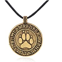OrliverHL Unisex Runic Bear Paw Print Amulet Pendant Necklace Nordic Viking Runes Jewelry ,Gold