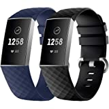 Fmway Correa Reloj Fitbit Charge 3, 2 Paquetes Repuesto de Correa Reloj de Silicona para Fitbit Charge 3 Pulsera, Hombre y Mujer