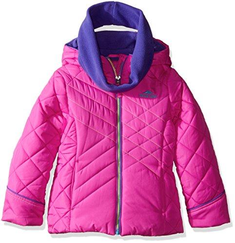 rls' Puffer Jacket with Neck Warmer, Pink, 10/12 (Neck Puffer Jacket)