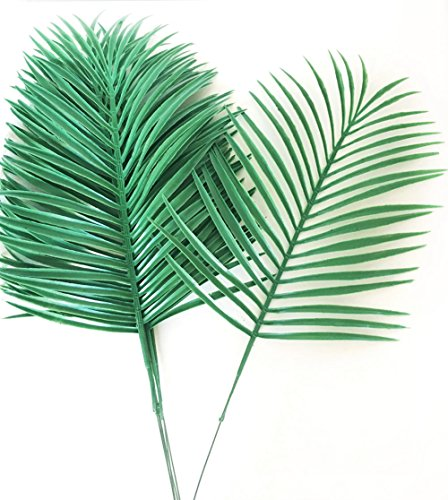 6 Pcs Artificial Plastic Palm Tree Leaves Green Plants Greenery for Flowers Arrangement Wedding (Artificial Palm Leaves)