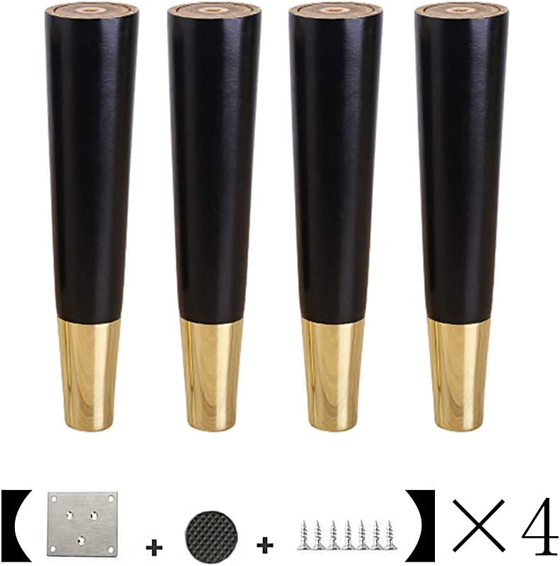 RXBFD Wooden Furniture Feet,Heavy Duty Furniture Legs,for Cabinet Sofa Ottoman TV Stand Loveseat Dresser,Easy to Install Wood Legs for Furniture,4pcs(with Screws)