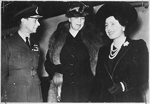 (First Eleanor Roosevelt King George VI Queen Elizabeth 1942 Poster Art Photo USA UK Historical Posters 24x36)