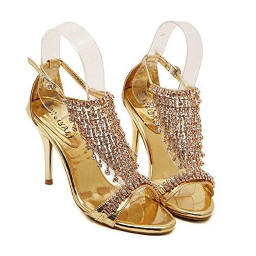 GAOLIXIA Bombas Peep Toe de las mujeres Tacones altos PU Summer Fashion Tacones Stiletto Rhinestone Sandalias huecas Gold