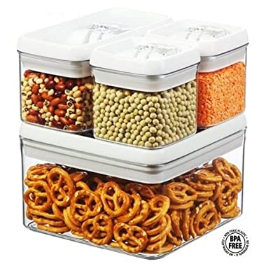 Set of 4 - Airtight Plastic Storage Canister Set, Food Saver Container w/ Vacuum Seal Locking Lid