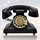 old dial telephones - IRISVO 1960s Rotary Dial Telephone Retro Old Fashioned Landline Phones with Classic Metal Bell, Handfree And Redial Function for Home and Decor(Classic Black)