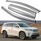 SPEEDLONG 4Pcs Car Window Visor Vent Shade Deflector Sun/Rain Guard for Toyota Highlander 2014 2015 2016 2017 2018 2019 (2014-2019 Toyota Highlander)